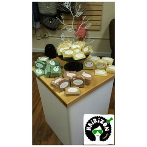 Our assorted display of Honey Almond & Oatmeal, Dreamsicle, Lemon Chamomile, Mint soaps! They also have Lavender(not shown)!